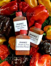 X3~15ml Shanez 'Death By Fire'(Hot Sauce)Chilli Reaper, Choc Scorp,Scorpion