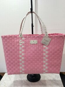 Kate Spade NY Logo Large Woven Pink/ White Tote Weekender Bag, NEW WITH TAG