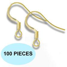 x100 Gold Earrings Ear Wire Hypoallergenic Metal French Shepherd Hook Findings