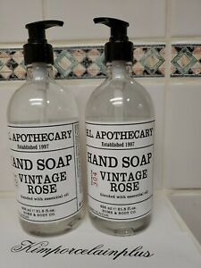 2 X VINTAGE ROSE Hand Soap 21.5 Fl  Oz H.L APOTHECARY Home & Body Co