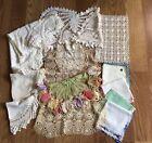 Vintage Lot 15 Hand Crocheted Doilies, Handkerchiefs, White, Ecru, Multicolor