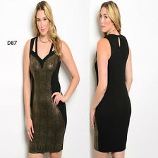D87 Ladies Size 20/22 Black Gold Sexy Formal Work Office Party Pencil Dress Plus