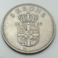 1965 Denmark Danmark 1 One Krone Circulated Danish Coin E783