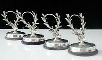 4 Antique Silver Stag's Head Menu Place Card Holders, Adie & Lovekin Ltd 1907