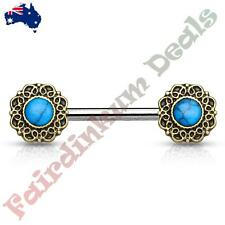 Nipple Barbell With Antique Gold Tribal Heart Filigree Ends Turquoise Centre