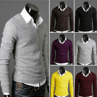 Men Basic New Stylish V Neck Long Sleeve Solid Knitted Tops Sweaters Pullovers