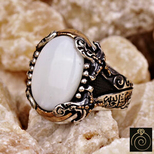 Ancient Men Ring Opal White Stone Statement Occult Jewelry Warrior Sword Engrave