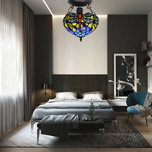 """Stylish Antique New Tiffany Style 10"""" Ceiling Light Handcrafted Stained Glass UK"""