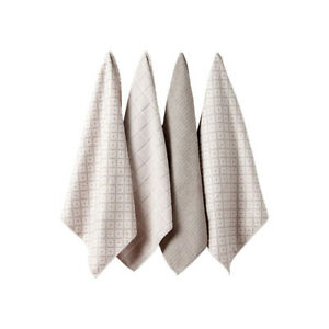 Ladelle Carvere Set of 4 Microfibre Tea Towels, Taupe Kitchen Dish Cloth Pack