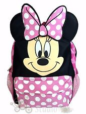 "12"" Disney Minnie Mouse Pink and Black Small School Backpack with Ears"