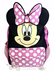 """12"""" Disney Minnie Mouse Pink and Black Small School Backpack with Ears"""