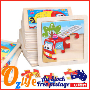 9 Pcs Baby Early Learning Kids Wooden Puzzle Toddler Jigsaw  1-3 Years 11cm*11cm