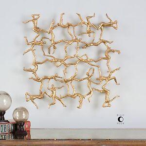 "DESIGNER GOLDEN GYMNASTS 19"" MODERN HOME DECOR WALL ART UTTERMOST"