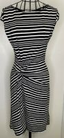 MAX STUDIO MAX MARA Black White Striped Knot Dipped Hem Midi Dress Small 8 10
