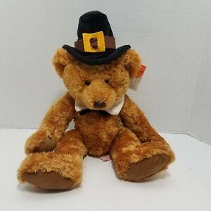 "Plymouth 10"" Plush Teddy Bear Pilgrim Russ Berrie Thanksgiving Harvest W/ Tags"