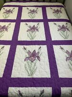 Vintage Embroidery Quilt Purple Iris Machine Quilted 86x107