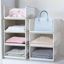4 Pack Stackable Wardrobe Storage Organizer Plastic Detachable Shelves Drawers