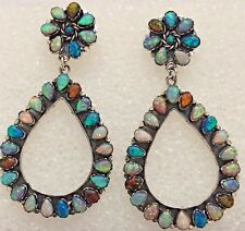 Sterling Silver Large Handmade Cluster Opal Flower Teardrop Post Dangle Earrings