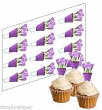 12 Crocus Flower Cupcake Picks Ricepaper Cake Decorations Mothers Day Toppers