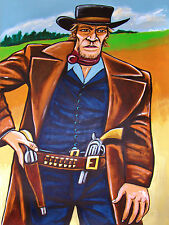 CLINT EASTWOOD PAINTING pale rider movie western cowboy hat colt army pistol