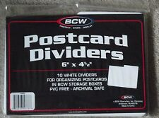 "20 BCW White Postcard Box Dividers 6"" x 4 1/2""- 2 Packs of 10 Indexing Storage"