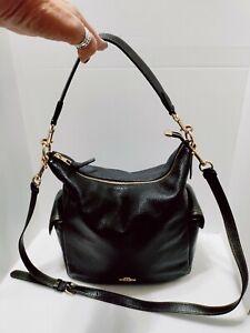 coach Black Pebbled pennie shoulder bag