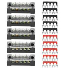 5pcs Dual Row 5 Positions Screw Terminal Electric Barrier Strip Block 600V 15A