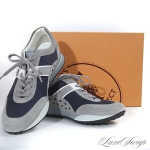 LNIB £298 Tods Made in Italy T Project Grey Suede Blue Microfiber Sneakers 8.5