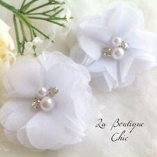 White Pearl Crystal Girl Christening Baptism Wedding Bridesmaid Baby Hair Clips