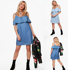 Womens Ladies Summer Dress Denim Look Strappy Off Shoulder Bardot Mini Dresses