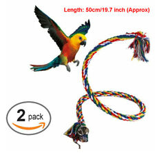 2Pc Parrot Hanging Braided Budgie Chew Rope Bird Cage Toy Stand Swing Us Ls0