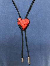 Hand Crafted Ceramic Red/Black Heart Western Black Fabric Cord Bolo Neck Tie