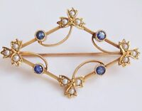 Stunning Antique Victorian 15ct Gold Sapphire & Pearl set Foliate Brooch c1895