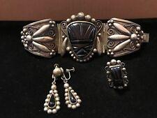 Bracelet, Ring & Earring Set Tribal Huge Vintage Mexican Silver Onyx Aztec Face