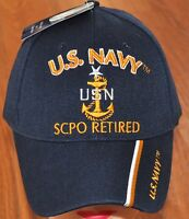 Blue US Navy SCPO Sr Chief Petty Officer Retired Hat Ball Cap Veteran Military