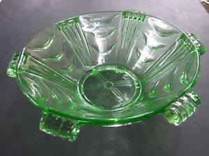 VINTAGE ART DECO LARGE ROUND GREEN GLASS BOWL C.1930'S  AF CONDITION