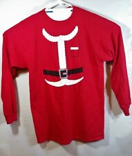 L/S Santa Claus Suit T-Shirt Red Novelty Costume M&O Knits Sz L 100% Cotton EUC