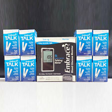 NEW Embrace Meter with 8 Boxes (400ct) TALK Test Strips Exp 05/2021 Ships Free