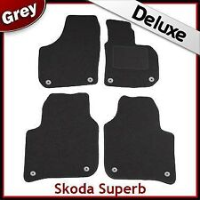 Skoda Superb Mk2 2008-2015 Fully Tailored LUXURY 1300g Carpet Car Mats GREY