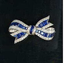 1.50ct NATURAL DIAMOND SAPPHIRE 14K WHITE GOLD WEDDING ANNIVERSARY BROOCH