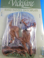 Light SwitchPlate Cover single w Forest DEER by Vicki Lane Anderson Resin New