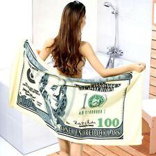 "Soft 100 Dollar Money Bill Towel Beach Bath Pool Velour Party Summer 28""x 56"""
