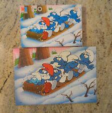 Vintage 1983 Smurfs 100 Piece Puzzle 4190-3 Complete - Winter Sledding Fun
