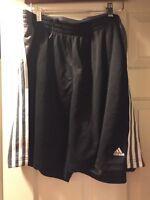 Adidas shorts Athletic Work Out Fitness Sport Mens XL Black gray 3 stripe