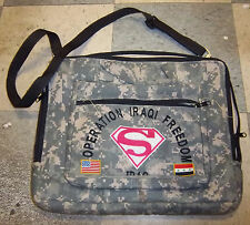 US Army Laptop Bag, with Operation Iraqi Freedom embroidered with S logo, Flags