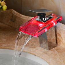 LED RGB Wasserhahn Glas Wasserfall Waschtischarmatur Einhandmischer Bad Armatur
