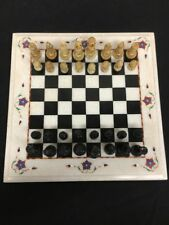 Afghanistan hand crafted stone Quartz Chess Set In Red Velvet Case (mm1375)