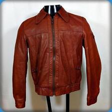 SAXONY Vtg Western 70s Leather Biker JACKET Mens S Rust orange zippered
