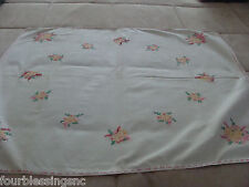 """VTG. ECRU TABLECLOTH-PINK & YELLOW EMBROIDERY FLOWERS-26"""" X 29""""-PINK BORDER"""