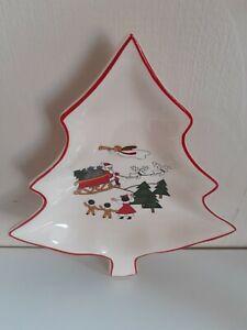 Mason's Christmas village ironstone Christmas Tree shaped dish.